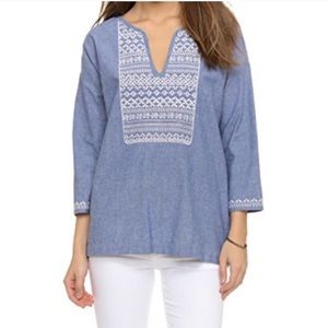 Soft Joie Chambray Peasant Top